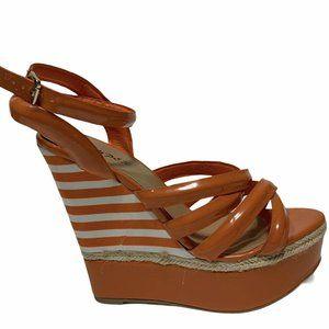 Bumper Orange White Striped Wedge Sandals